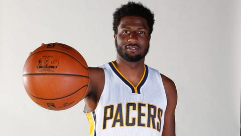 Sep 28, 2015; Indianapolis, IN, USA; Indiana Pacers forward Solomon Hill (44) poses for a photo during media day at Bankers Life Fieldhouse. Mandatory Credit: Brian Spurlock-USA TODAY Sports