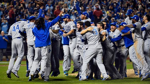 Nov 1, 2015; New York City, NY, USA; Kansas City Royals players celebrate on the field after defeating the New York Mets in game five of the World Series at Citi Field. The Royals won the World Series four games to one. Mandatory Credit: Robert Deutsch-USA TODAY Sports