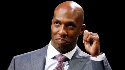 Feb 10, 2016; Auburn Hills, MI, USA; Chauncey Billups gives a speech during his halftime retirement ceremony in the game between the Detroit Pistons and the Denver Nuggets at The Palace of Auburn Hills. The Nuggets won 103-92.  Mandatory Credit: Raj Mehta-USA TODAY Sports