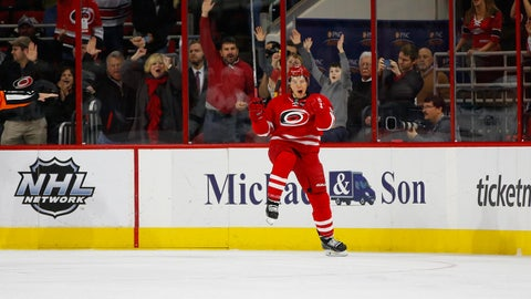 Feb 19, 2016; Raleigh, NC, USA;  Carolina Hurricanes forward Jeff Skinner (53) celebrates his third period goal against the San Jose Sharks at PNC Arena. The Carolina Hurricanes defeated the San Jose Sharks 5-2. Mandatory Credit: James Guillory-USA TODAY Sports