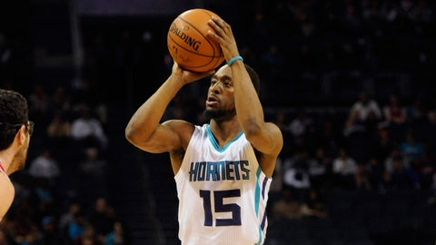 Feb 8, 2016; Charlotte, NC, USA; Charlotte Hornets guard Kemba Walker (15) shoots against the Chicago Bulls  during the first half at Time Warner Cable Arena. Mandatory Credit: Sam Sharpe-USA TODAY Sports