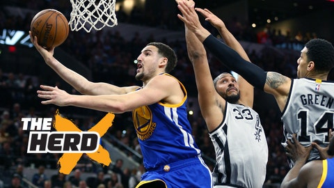 Mar 19, 2016; San Antonio, TX, USA; Golden State Warriors guard Klay Thompson (11) shoots against the San Antonio Spurs at the AT&T Center. Spurs won 89-79. Mandatory Credit: Erich Schlegel-USA TODAY Sports