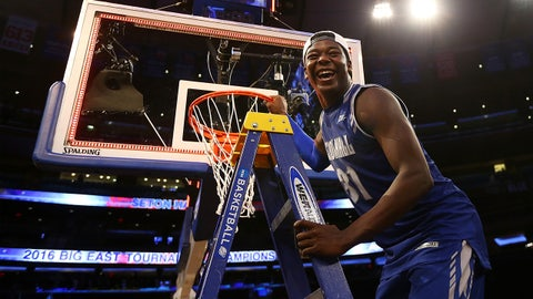 NEW YORK, NY - MARCH 12:  Angel Delgado #31 of the Seton Hall Pirates celebrates after defeating the Villanova Wildcats to win the Big East Basketball Tournament Championship at Madison Square Garden on March 12, 2016 in New York City. Seton Hall Pirates defeated Villanova Wildcats 69-67.  (Photo by Mike Stobe/Getty Images)