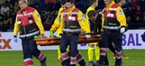Christoph Kramer stretchered off after ball hits his head   2015–16 UEFA Europa League Highlights