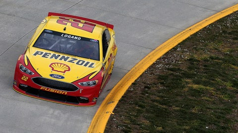 MARTINSVILLE, VA - APRIL 01:  Joey Logano, driver of the #22 Shell Pennzoil Ford, drives during qualifying for the NASCAR Sprint Cup Series STP 500 at Martinsville Speedway on April 1, 2016 in Martinsville, Virginia.  (Photo by Matt Sullivan/NASCAR via Getty Images)