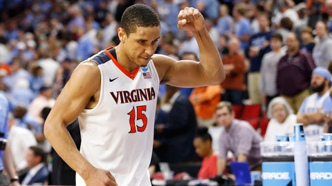 Mar 19, 2016; Raleigh, NC, USA; Virginia Cavaliers guard Malcolm Brogdon (15) celebrates after defeating the Butler Bulldogs 77-69 in the second half during the second round of the 2016 NCAA Tournament at PNC Arena. Mandatory Credit: Geoff Burke-USA TODAY Sports