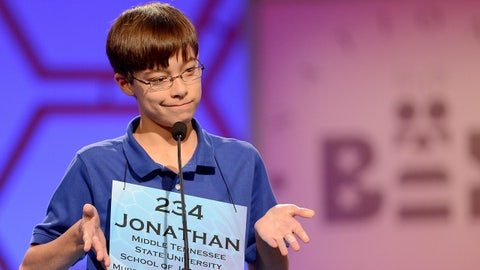 Jonathan Caldwell of Hendersonville, Tennessee, reacts after misspelling a word in the semifinals of the 2013 Scripps National Spelling Bee in National Harbor, Maryland, Thursday, May 30, 2013. (Chuck Myers/MCT via Getty Images)