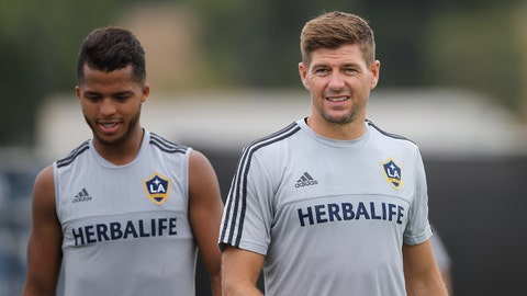 LOS ANGELES, CA - AUGUST 21:  Giovani dos Santos and Steven Gerrard during the LA Galaxy training session after the LA Galaxy training session on August 21, 2015 in Los Angeles, California.  (Photo by Matthew Ashton - AMA/Getty Images)