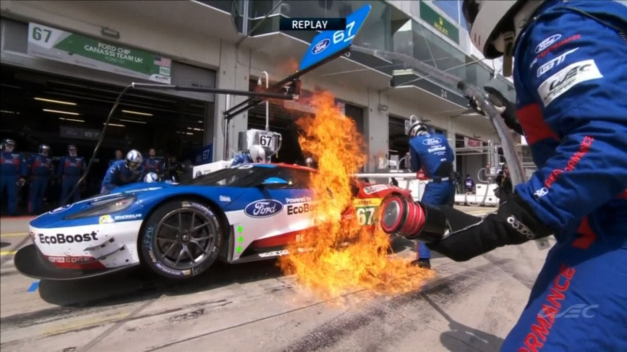 Ford Gt Pit Fire   Hours Of Nurburgring Fox Sports