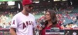 Angels Live: JJ Redick prepares to throw out the first pitch at Angel Stadium