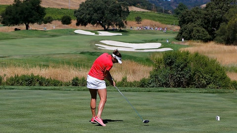 SAN MARTIN, CA - JULY 10:  Brittany Lang tees off on the 2nd hole during the final round of the U.S. Women's Open at CordeValle Golf Club on July 9, 2016 in San Martin, California.  (Photo by Jonathan Ferrey/Getty Images)