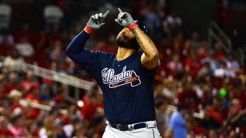 Aug 6, 2016; St. Louis, MO, USA; Atlanta Braves left fielder Matt Kemp (27) celebrates after hitting a two run home run off of St. Louis Cardinals relief pitcher Jonathan Broxton (not pictured) during the ninth inning at Busch Stadium. The Braves won 13-5. Mandatory Credit: Jeff Curry-USA TODAY Sports