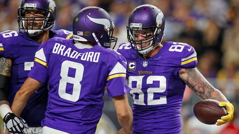 Oct 3, 2016; Minneapolis, MN, USA; Minnesota Vikings tight end Kyle Rudolph (82) celebrates with quarterback Sam Bradford (8) his touchdown against the New York Giants in the second quarter at U.S. Bank Stadium. Mandatory Credit: Bruce Kluckhohn-USA TODAY Sports
