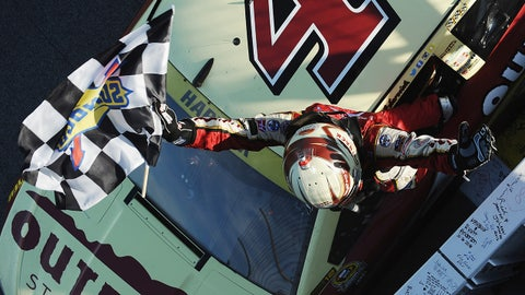 Checkered flag for Harvick