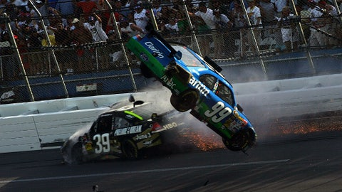 Carl Edwards into the catch fence, 2009
