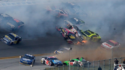 Tony Stewart flips while leading, 2012