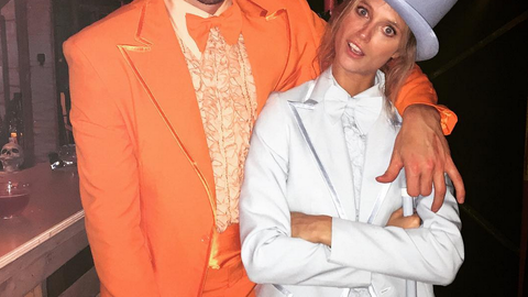 Kevin Love and girlfriend Kate Bock dressed as 'Dumb and Dumber'