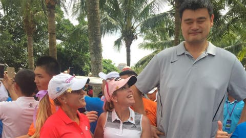 LPGA pros Natalie Gulbis and Paula Creamer having fun with Yao, too