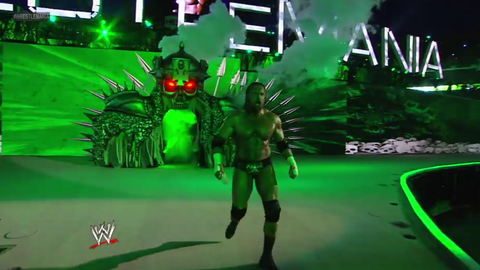 Triple H's entrance through a giant spiked skull