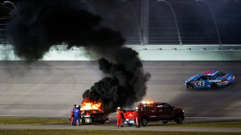 Truex up in flames