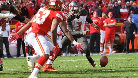 Jameis Winston struggles to protect the football