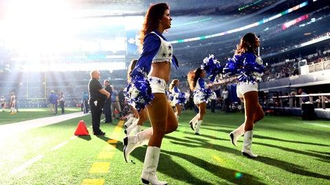 An eerie light for the Cowboys cheerleaders