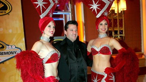 Tony Stewart and Vegas showgirls, 2009