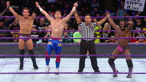 Rich Swann, TJ Perkins and Noam Dar defeated Ariya Daivari, Tony Nese and Drew Gulak