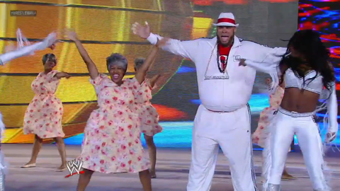 Brodus Clay's mom shows off her dance moves