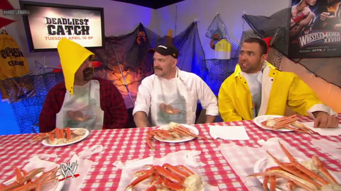 Mick Foley and Santino star in a Deadliest Catch promo