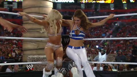 Match 4: Beth Phoenix and Eve Torres vs. Kelly Kelly and Maria Menounos