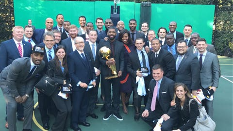 The First Lady and the Cavs surprised some veterans on the White House basketball court