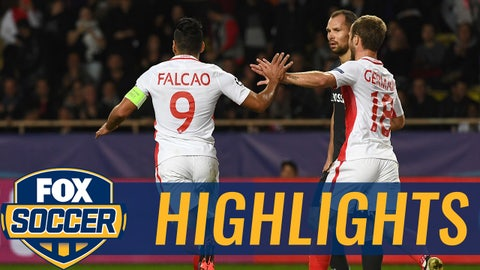 Monaco's Colombian forward Radamel Falcao (L) celebrates with Monaco's French forward Valere Germain (R) next to CSKA Moscow's defender Sergei Ignashevich (C) after scoring a goal during the UEFA Champions League Group E football match between AS Monaco FC and PFC CSKA Moscow at the Louis II Stadium in Monaco on November 2, 2016.  / AFP / ANNE-CHRISTINE POUJOULAT        (Photo credit should read ANNE-CHRISTINE POUJOULAT/AFP/Getty Images)