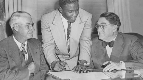 Jackie Robinson breaks the color barrier, 1947 (Ebbets Field)
