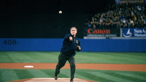 The president's first pitch, 2001 World Series, Game 3 (Yankee Stadium)