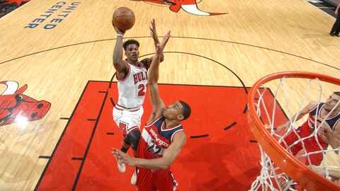 Most men in the lane at any given moment: Chicago Bulls