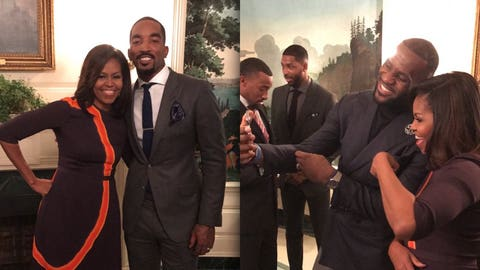Snapping photos with First Lady Michelle Obama