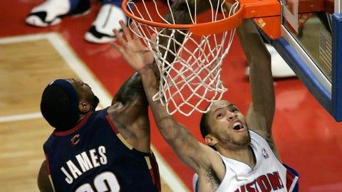 LeBron James pins Tayshaun Prince