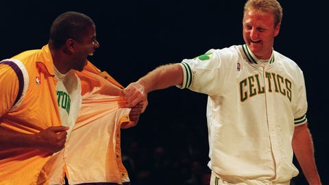He wore Celtics gear to Larry Bird's jersey retirement ceremony