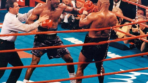 Evander Holyfield took the WBA Heavyweight Championship from Mike Tyson