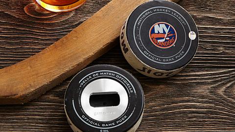 Game-used NHL hockey puck bottle opener