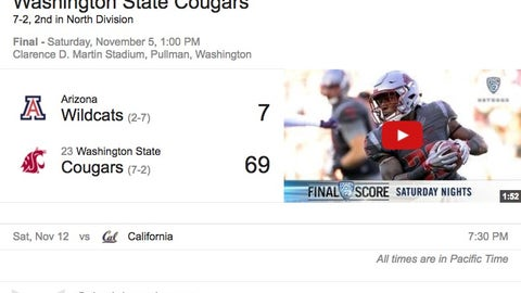 Washington State (7-2), re-rank: 24