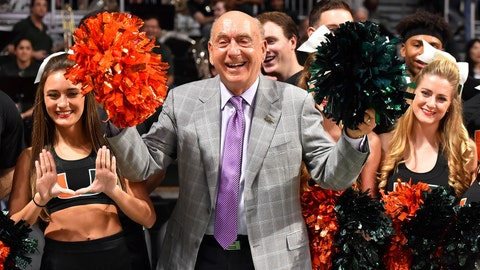 Miami cheerleaders and Dick Vitale