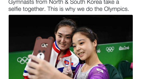 Gymnasts from North and South Korea take a selfie together