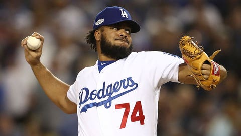LOS ANGELES, CA - OCTOBER 18: Kenley Jansen #74 of the Los Angeles Dodgers delivers a pitch against the Chicago Cubs in the eighth inning of game three of the National League Championship Series at Dodger Stadium on October 18, 2016 in Los Angeles, California. (Photo by Sean M. Haffey/Getty Images)