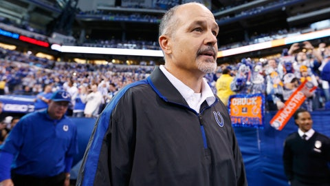 The Colts' Chuck Pagano misses most of the season to undergo treatment for leukemia (2012)