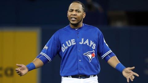 TORONTO, ON - OCTOBER, 19 - Edwin Encarnacion #10 of the Toronto Blue Jays reacts after hitting into a double play to end the fourth inning in Game 5 of the ALCS baseball series against the Cleveland Indians at the Rogers Centre in Toronto, October 19, 2016. Richard Lautens/Toronto Star (Richard Lautens/Toronto Star via Getty Images)