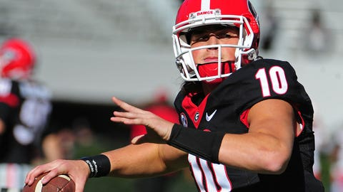 ATHENS, GA - NOVEMBER 19: Jacob Eason #10 of the Georgia Bulldogs warms up before the game against the Lousiana-Lafayette Rajin' Cajuns at Sanford Stadium on November 19, 2016 in Athens, Georgia. (Photo by Scott Cunningham/Getty Images)