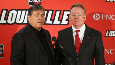 LOUISVILLE, KY - JANUARY 09: Tom Jurich the athletic director at the University of Louisville introduces Bobby Petrino as the head coach of the University of Louisville at Papa John's Cardinal Stadium on January 9, 2014 in Louisville, Kentucky. (Photo by Andy Lyons/Getty Images)