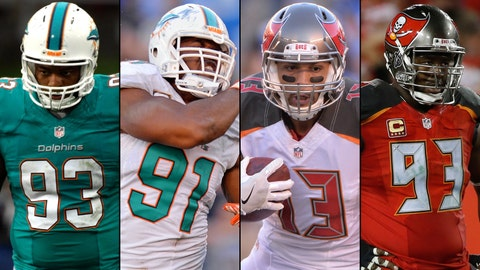From left: Ndamukong Suh and Cameron Wake of the Miami Dolphins, and Mike Evans and Gerald McCoy of the Tampa Bay Buccaneers.
